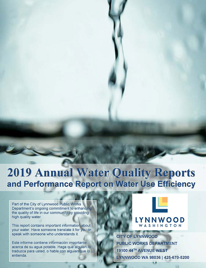 In 2019, the City of Lynnwood released an annual quality reports and performance report on water use efficiency in Lynnwood. The report includes information on the city's drinking water source, regulations and programs that protect quality water, results from the 2018 Water Quality Analysis and information about the Public Works Utility Department.