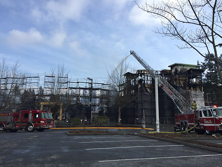 In 2017, Lynnwood witnessed our biggest fire at The Reserve senior apartments. As the building was ablaze, fire crews pumped drinking water from a nearby fire hydrant to calm the flames.